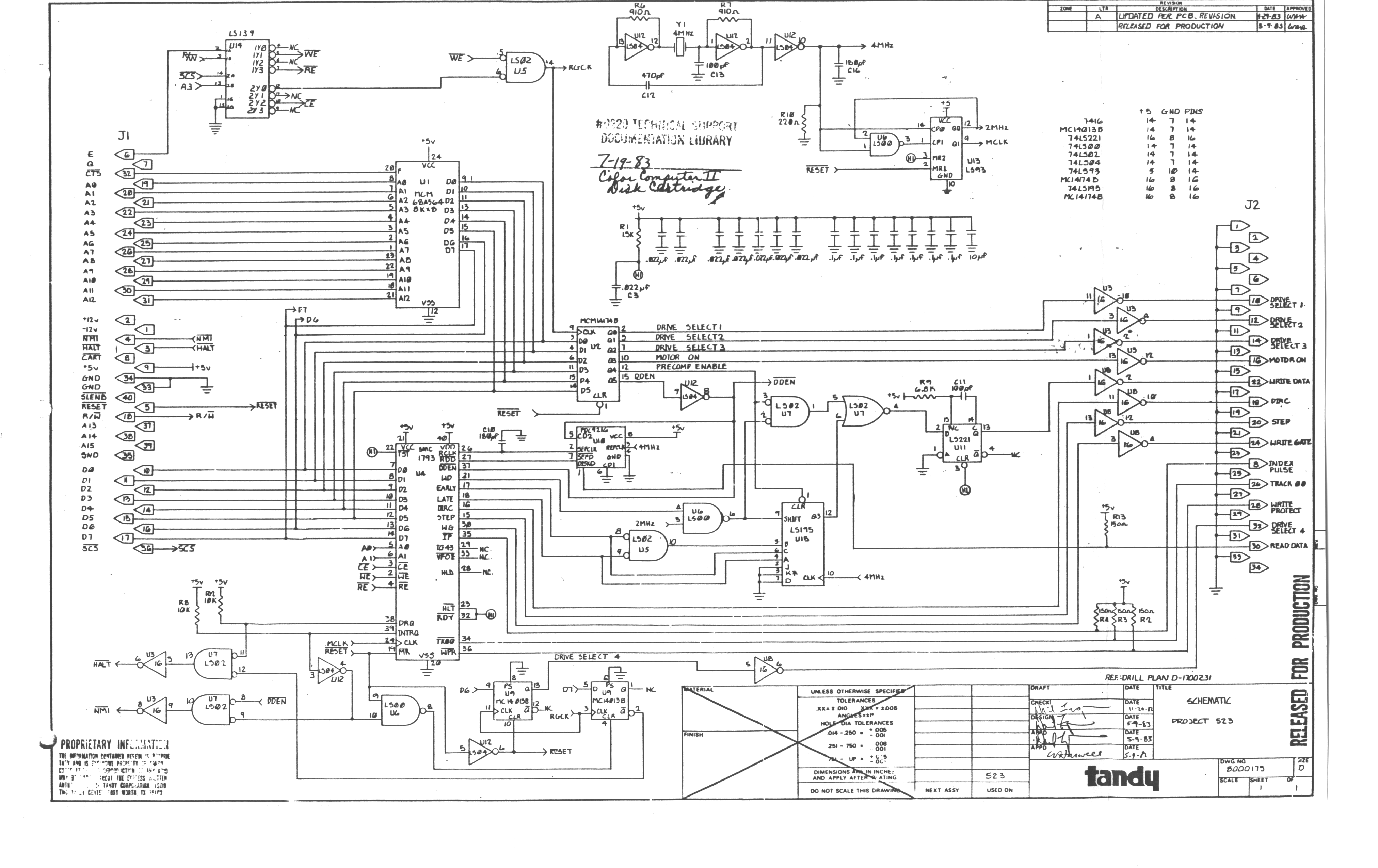 trs 80 color computer archive Motherboard Schematic